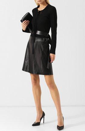 Женская кожаная мини-юбка с поясом TOM FORD черного цвета, арт. GCL755-LEX181 | Фото 2