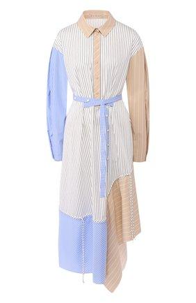 Платье-рубашка асимметричного кроя с поясом Ruban разноцветное | Фото №1
