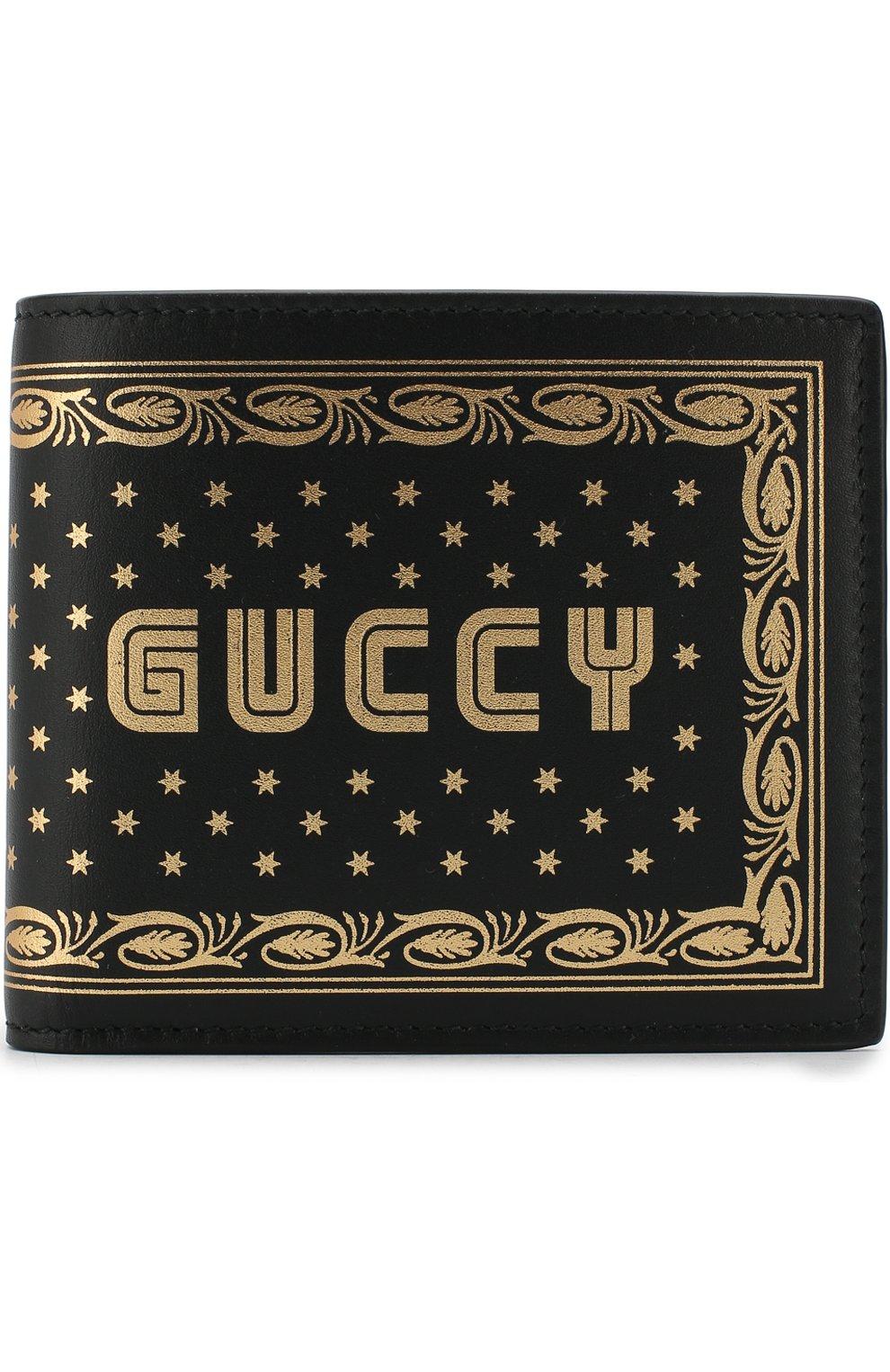 Кожаное портмоне с принтом Gucci черного цвета | Фото №1