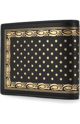 Кожаное портмоне с принтом Gucci черного цвета | Фото №2