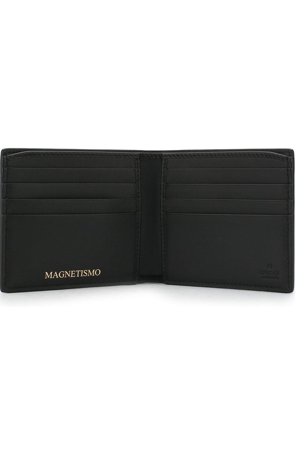 Кожаное портмоне с принтом Gucci черного цвета | Фото №3