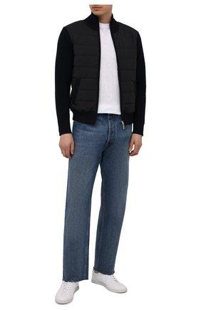 Мужской комбинированный кардиган GRAN SASSO темно-синего цвета, арт. 23118/25022 | Фото 2 (Рукава: Длинные; Длина (для топов): Стандартные; Материал внешний: Шерсть; Материал подклада: Синтетический материал; Стили: Кэжуэл; Мужское Кросс-КТ: Кардиган-одежда; Статус проверки: Проверена категория)