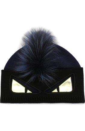 Шерстяная шапка с отделкой из меха лисы | Фото №1
