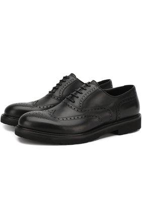 Кожаные оксфорды на шнуровке с брогированием A. Testoni черные   Фото №1