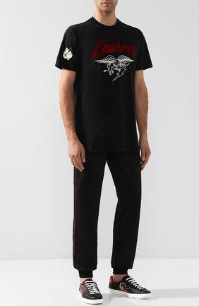 Мужские кожаные кеды ace kingsnake на шнуровке GUCCI черного цвета, арт. 501309/0IF10 | Фото 2