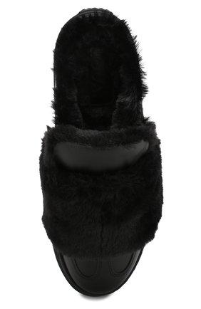 Кожаные сабо с отделкой из эко-меха | Фото №5