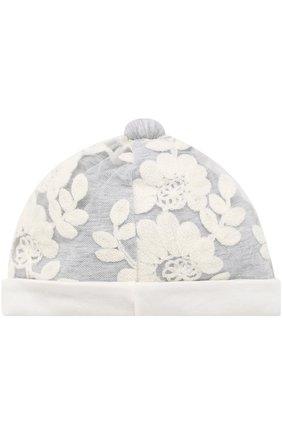 Хлопковая шапка с отделкой Aletta серого цвета   Фото №1