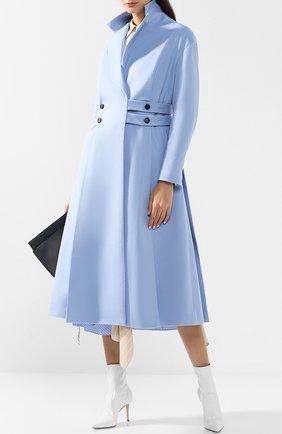 Пальто из смеси шерсти и кашемира с защипами Ruban голубого цвета | Фото №1