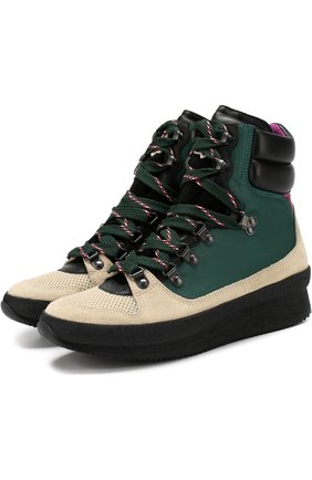 Комбинированные ботинки на шнуровке Isabel Marant хаки   Фото №1