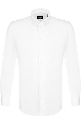 Мужская хлопковая рубашка с воротником кент GIORGIO ARMANI белого цвета, арт. 8WGCCZ06/JZ070 | Фото 1