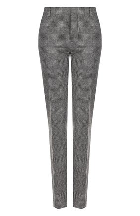 Женские шерстяные брюки со стрелками SAINT LAURENT серого цвета, арт. 517819/Y218T | Фото 1