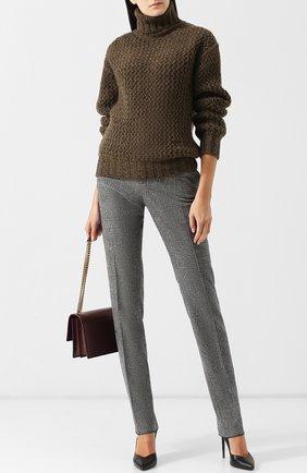 Женские шерстяные брюки со стрелками SAINT LAURENT серого цвета, арт. 517819/Y218T | Фото 2