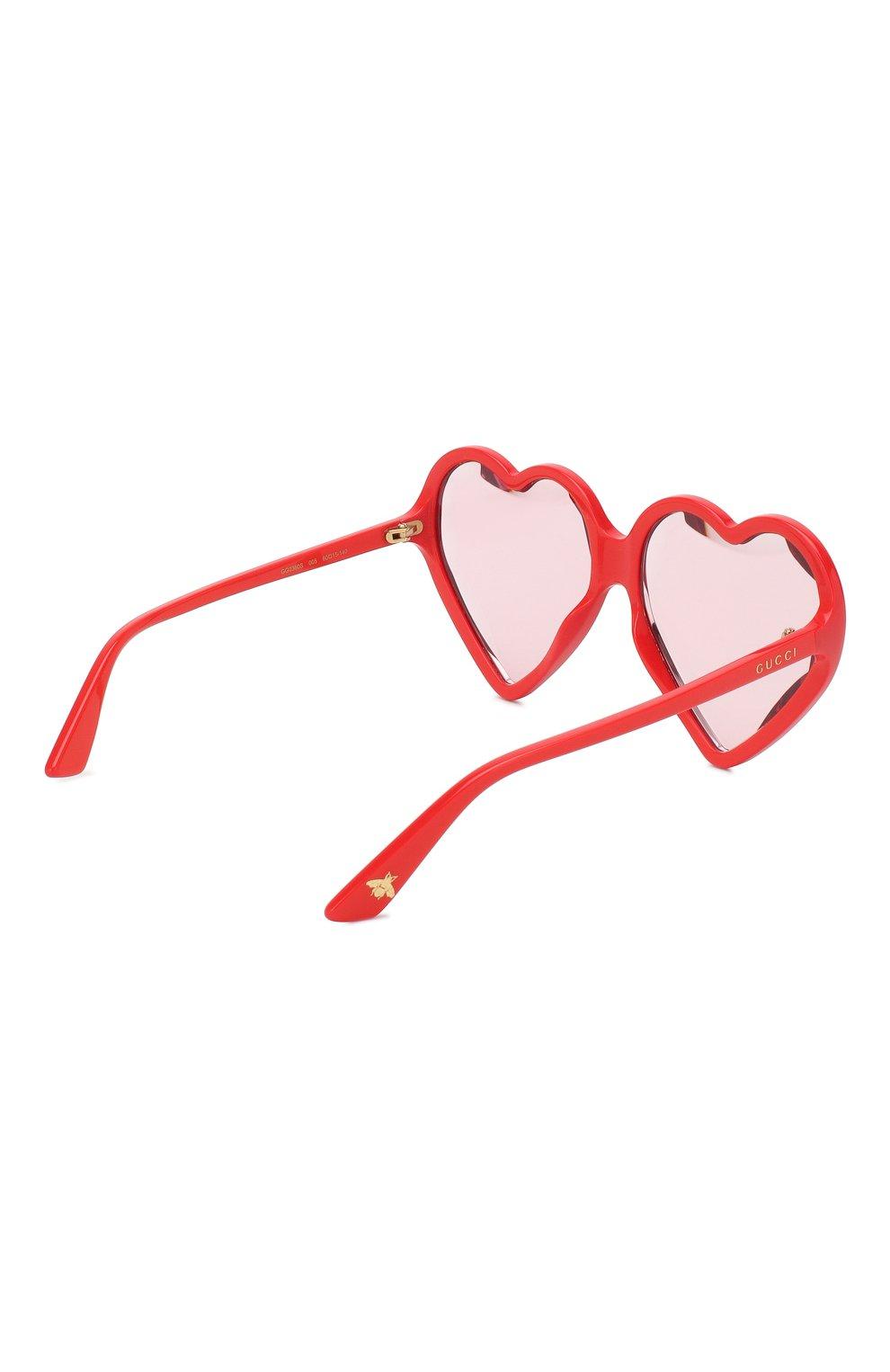 Женские солнцезащитные очки GUCCI красного цвета, арт. GG0360 005 | Фото 4