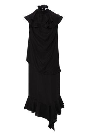 Шелковое платье-миди с оборками J.W. Anderson черное   Фото №1
