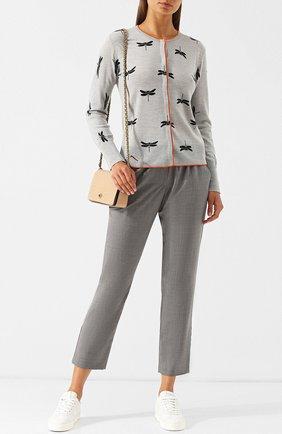 Шерстяной кардиган с принтом Escada Sport серый | Фото №1