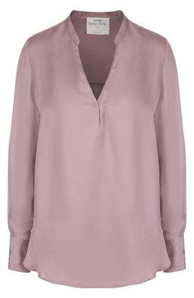 Однотонная блуза с V-образным вырезом | Фото №1