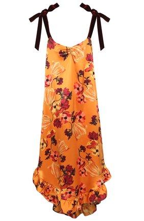 Шелковое платье с принтом Mother Of Pearl оранжевое | Фото №1