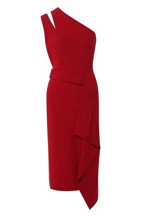 Однотонное платье-миди с оборкой Roland Mouret красное   Фото №1