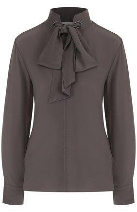 Шелковая блуза с воротником-стойкой и бантом   Фото №1