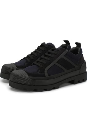 Мужские текстильные ботинки yellowstone на шнуровке с замшевой отделкой GIORGIO ARMANI темно-синего цвета, арт. X2C586/XL562 | Фото 1