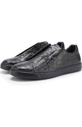Кеды без шнуровки из кожи крокодила | Фото №1
