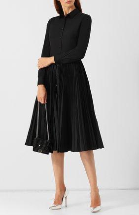 Однотонное платье-миди с плиссированной юбкой sara roka черное | Фото №1