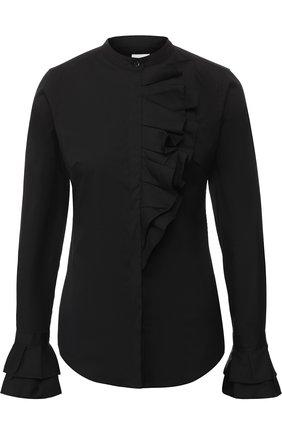 Женская хлопковая блуза с оборками sara roka, цвет черный, арт. TYRA/FW18-01 в ЦУМ | Фото №1