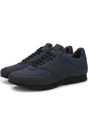 Комбинированные кроссовки на шнуровке Moreschi темно-синие | Фото №1