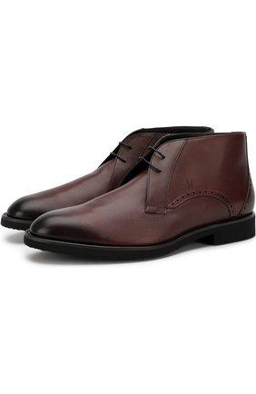 Кожаные ботинки на шнуровке с внутренней меховой отделкой Moreschi бордовые | Фото №1