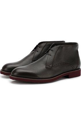 Кожаные ботинки на шнуровке с внутренней меховой отделкой Moreschi коричневые | Фото №1