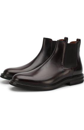 Классические кожаные челси W.Gibbs бордовые | Фото №1