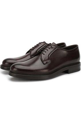 Кожаные дерби на шнуровке W.Gibbs коричневые | Фото №1