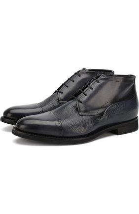 Кожаные ботинки на шнуровке Barrett темно-серые | Фото №1