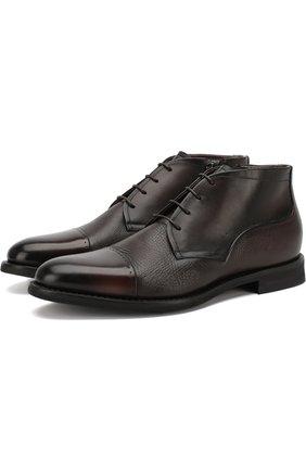 Кожаные ботинки на шнуровке с внутренней меховой отделкой Barrett темно-коричневые | Фото №1