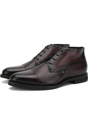 Кожаные ботинки на шнуровке с внутренней меховой отделкой Barrett бордовые | Фото №1