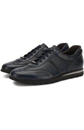 Кожаные кроссовки на шнуровке Barrett синие | Фото №1