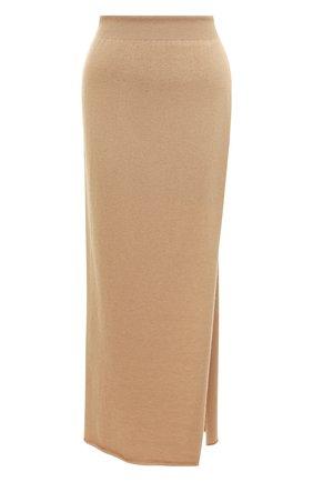 Однотонная юбка из смеси шерсти и кашемира Jacquemus бежевая   Фото №1