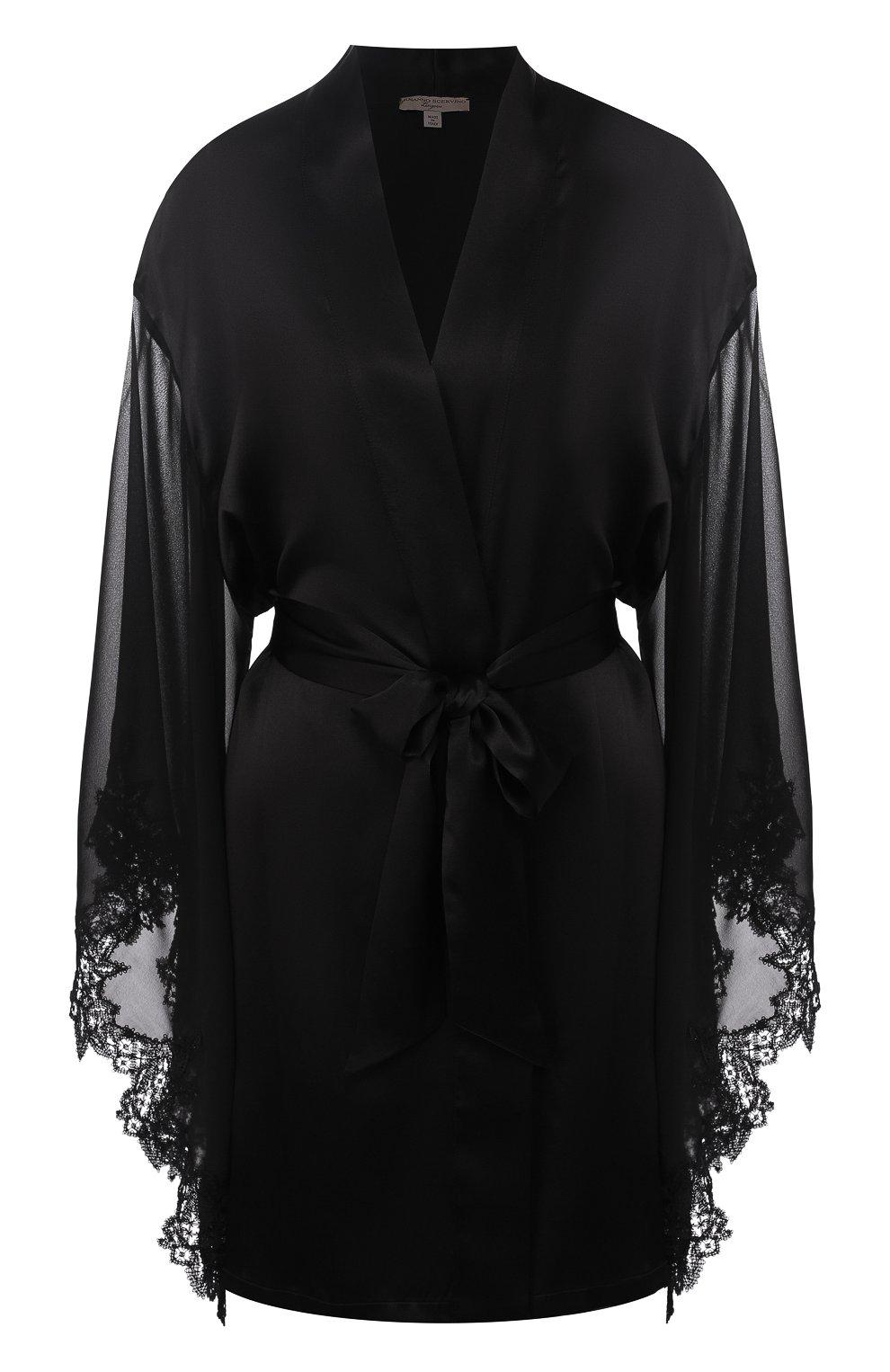 3a0b0ce7e83df3f Женский черный шелковый халат с поясом ERMANNO SCERVINO — купить за ...