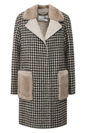Шерстяное пальто с меховой отделкой | Фото №1