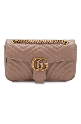 Женская сумка gg marmont GUCCI бежевого цвета, арт. 443497/DTDIT   Фото 1 (Материал: Натуральная кожа; Ремень/цепочка: На ремешке; Сумки-технические: Сумки через плечо; Размер: small)