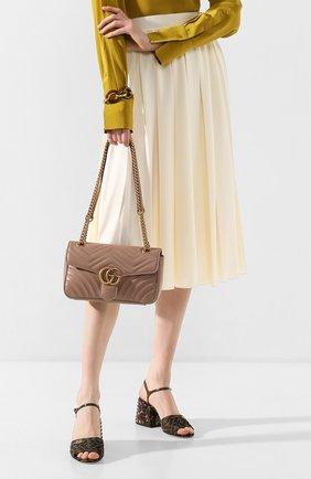 Женская сумка gg marmont GUCCI бежевого цвета, арт. 443497/DTDIT   Фото 2 (Материал: Натуральная кожа; Ремень/цепочка: На ремешке; Сумки-технические: Сумки через плечо; Размер: small)