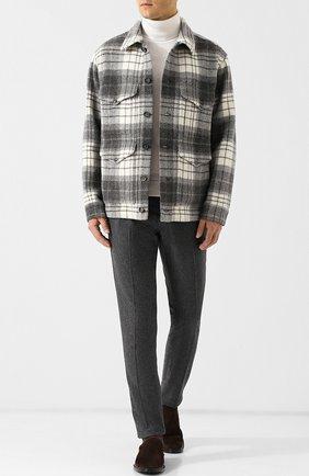 Шерстяные брюки прямого кроя с поясом на кулиске Jacob Cohen серые | Фото №1
