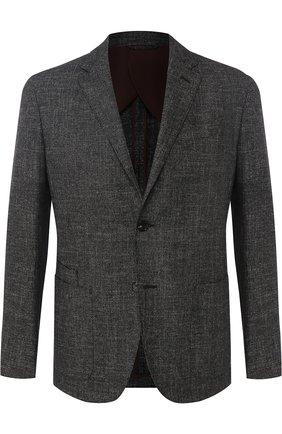 Однобортный пиджак из смеси шерсти и хлопка со льном   Фото №1