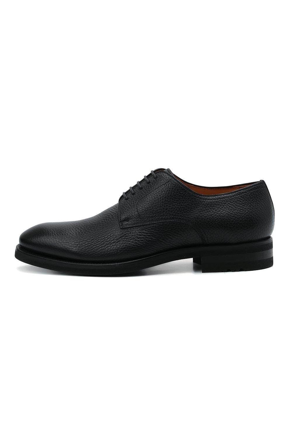 Мужские кожаные дерби MAGNANNI черного цвета, арт. 21251/RUG0ARCADE   Фото 3 (Материал внутренний: Натуральная кожа; Стили: Классический)