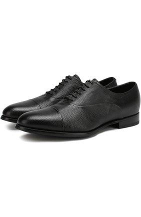 Кожаные оксфорды на шнуровке с внутренней меховой отделкой Barrett черные | Фото №1