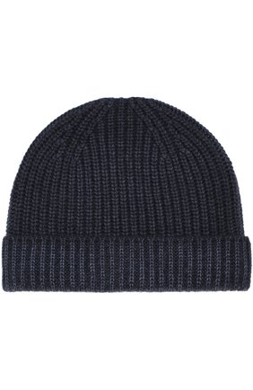 Кашемировая вязаная шапка Cruciani темно-синего цвета | Фото №1