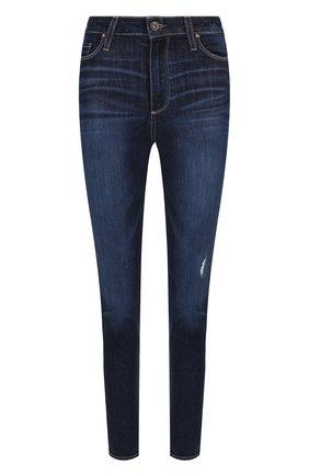 Укороченные джинсы с потертостями Paige синие | Фото №1