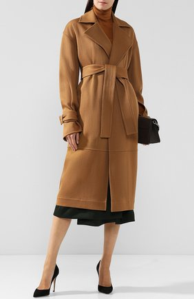Шерстяное пальто с поясом Victoria Beckham бежевого цвета | Фото №1
