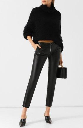 Укороченные кожаные брюки Victoria Beckham черные | Фото №1