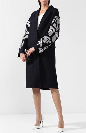 Шерстяное пальто с декоративной отделкой Oscar de la Renta темно-синего цвета | Фото №1